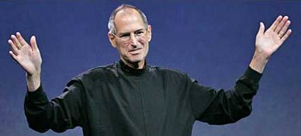 Steve Jobs raising both hands